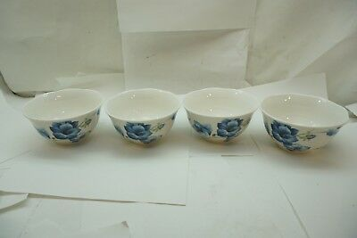 LENOX CHINA BUTTERFLY MEADOW PATTERN SET 4 SOUP RICE CEREAL DESSERT BOWLS BLUE d