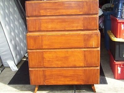 Mid Century Modern Eliel Saarinen for Rway Five Drawer Highboy Dresser 1940s