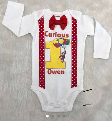 handmade boys first birthday curious George birthday shirt red yellow suspenders