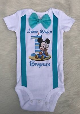 handmade boys first birthday Mickey Mouse blue shirt bow tie suspenders
