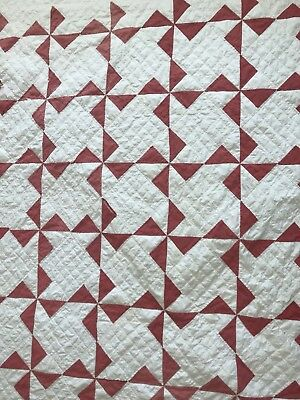 "Antique Quilt 72"" x 79"" Red And White Pinwheels."