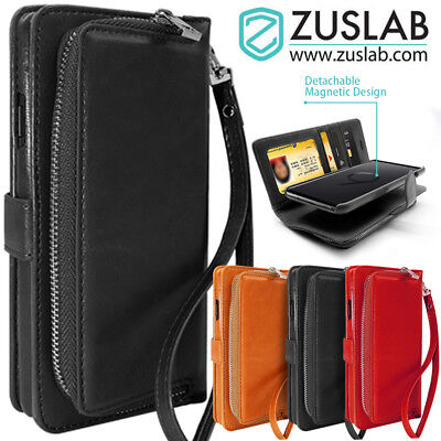 Samsung Galaxy S9 S9 Plus Case ZUSLAB Detachable Leather Card Slots Wallet Cover