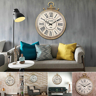 Large 50cm Vintage Pocket Watch Style Roman Numerals Wall Clock Home Decoration