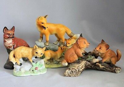 GROUP of FOX FIGURINES 4 Figures Animal Statues