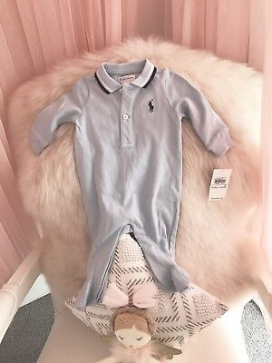 BNWT Ralph Lauren Baby Boy Gorgeous Pale Blue Jumpsuit