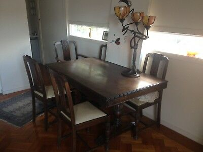 Antique Solid oak farm house dining setting table, 4 chairs and 2 Carvers