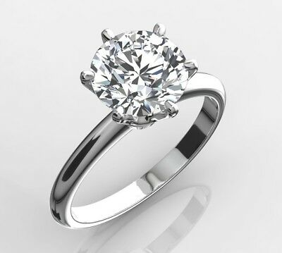1 Carat Ct Round Cut E Si1 Diamond Solitaire Engagement Ring 14K White Gold