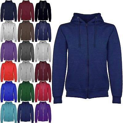 Mens Plain Hooded Hoodies Hoody American Fleece Zip Jacket Sweat Shirt Top S-XL