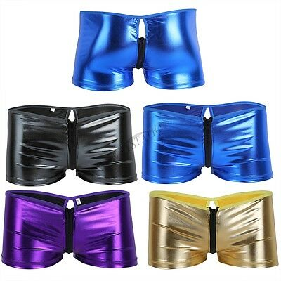 Mens Shiny Leather Zipper Boxer Briefs Wetlook Trunk Shorts Underwear Underpants