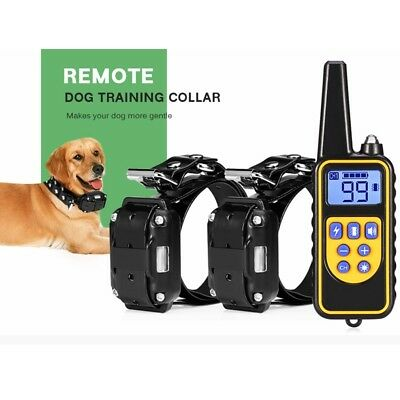 800m 2 Dog Training Collar + 1 Remote Control Electric Rechargeable Waterproof