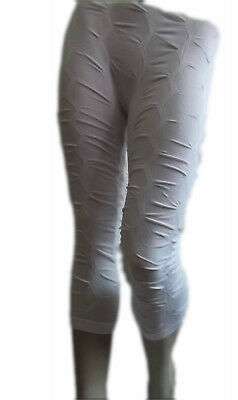 Damen Capri-Leggings  Capri Leggings Raffungen 3/4 Leggins Weiss Gr.34-38