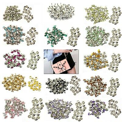 8mm X 50pcs Crystal Diamante Rivets Studs for Decoration of Leather Bags Shoes