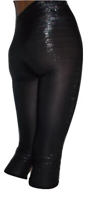 Damen Capri Leggings Leggings Raffungen 3/4 Leggins Glitzer Schwarz Gr.34-38