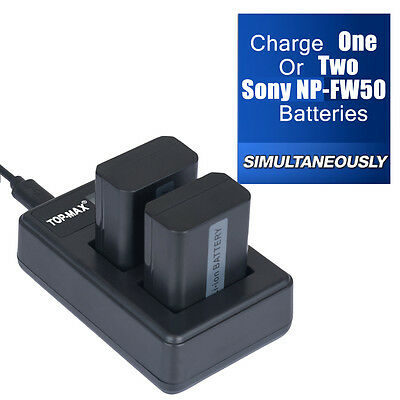 2X Battery+Dual charger for Sony NP-FW50 A5000 A6000 NEX-7 5T 5R 5N 5C 3N A7 A7R