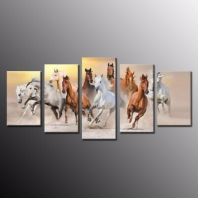 Modern Canvas Print Art Animals Home Decor Wall Art Horse Painting Picture 5pcs