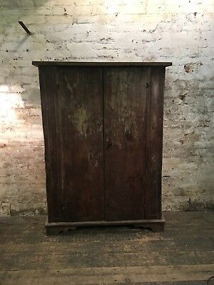 Solid Oak Antique Cupboard Industrial Vintage Cabinet C1930