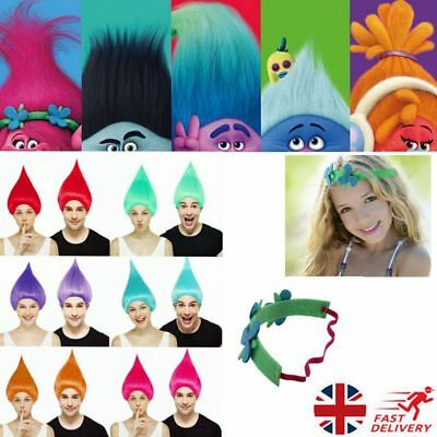 Vogue Adult/Kids Colorful Trolls Poppy Elf/Pixie Wigs Fance Party Cospaly Lot