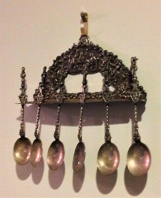 Antique/Vintage HH 90 Hendrik Hooijkaas ? Silverplate ? Hanging Spoon Set
