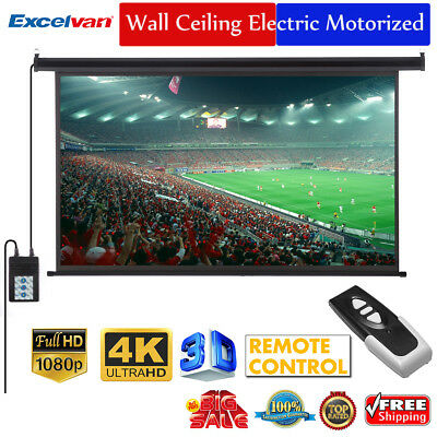 """100"""" 16:9 3D Electric Motorized HD Projector Projection Screen Cinema Theater"""