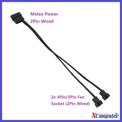 Braided Molex LP4 Power to 2x 3Pin 4Pin Case Cooling Fan Converter Adapter 12V