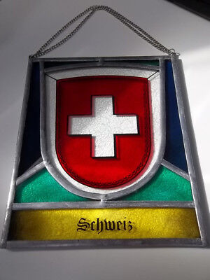 Swiss Stained Glass Vintage Window Wall hanging