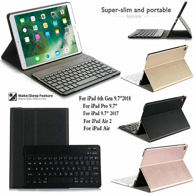 Detachable Bluetooth Keyboard Leather Case Smart Cover For iPad 6th Gen 9.7 2018