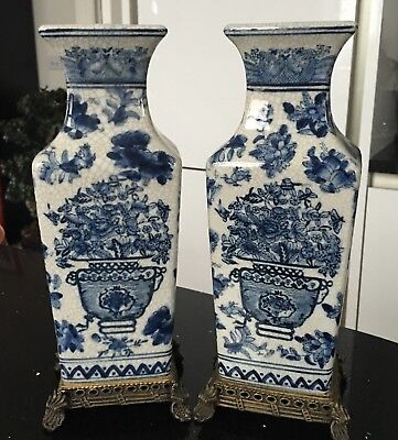 Pair Of Very Old Chinese Blue And White Vases BEAUTIFUL AND QUALITY