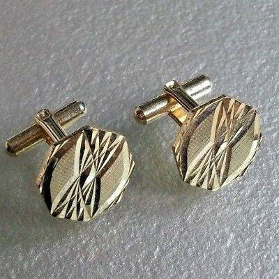 VINTAGE CUFFLINKS 1960s 1970s MOD GOLDTONE METAL RETRO DAZZLING CUT DESIGN