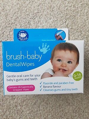 28s Brush-Baby Dental Wipes 0-16 Months - Banana flavour - Expiry 23.06.2018