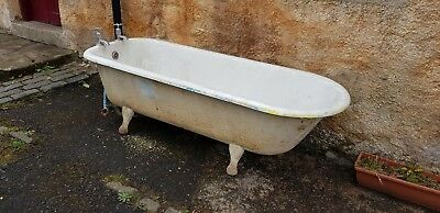 Vintage LARGE Cast Iron Bath Roll top Victorian Industrial Reclaimed Rustic 1.8M