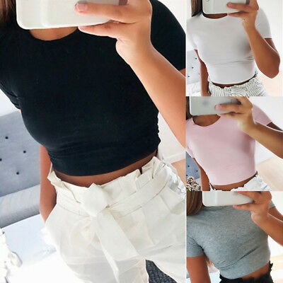 AU Women Sexy Slim Belly Blouse Short Sleeve Crop Tops Bodycon Basic Tee Tops