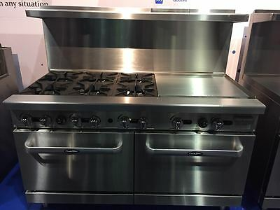 "New Heavy 60"" Range 6 Burners 24"" Griddle  2 Full Ovens Stove  Natural Gas Only"
