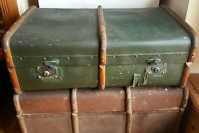 Vintage Steamer Trunk, Green, Shabby, Upcycle, Repurpose, Wedding, Prop