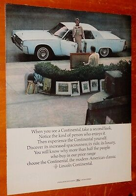 Powder Blue 1964 Lincoln Continental With Artist's Paintings Vintage Classic Ad