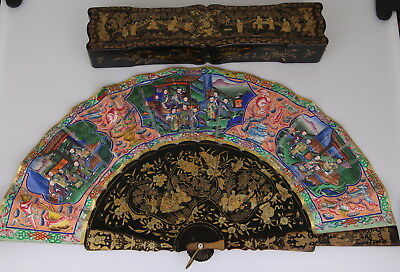 Antique Chinese Gilt Lacquer Fan Hand Painted Canton Figural Scene Box 19th C.