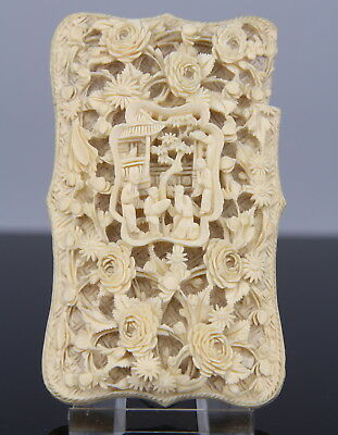 Antique Chinese carved Card Case Box Canton 19th C. Qing