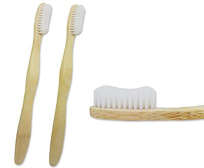 2 x Bamboo Toothbrush ~ Adult Medium/Firm, Eco Friendly Bio-Degradable Packaging