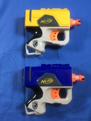 Lot of 2 Yellow  Blue NERF N-Strike Single Shot Dart Tag REFLEX Gun 2 darts 2007