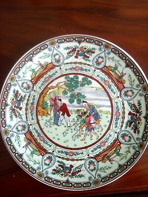 FINE Antique Chinese Porcelain Famille Rose Mandarin Figure Plate Charger 19th C