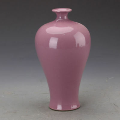 China old antique Porcelain Hand made QING Rouge glaze MEIPING Pulm vase