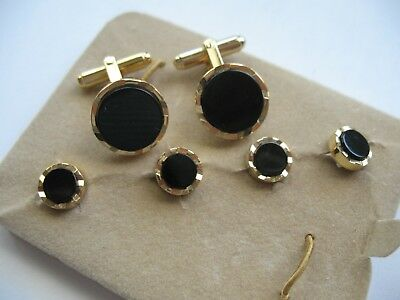 Perry Ellis Round Black Gold Tone Cufflinks & 4 Button Stud Set Formal Wear