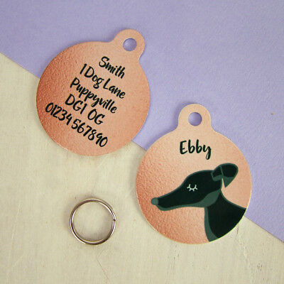 Greyhound dog Tag - Whippet ID pet Tag - PERSONALISED puppy tag - cute dog tag