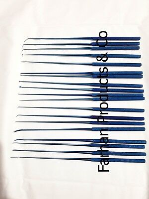 Rhoton Dissector Micro Expanded Set Kit Neurosurgery Medical Instruments Blue