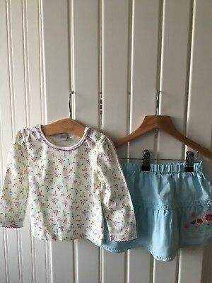 Baby Girl's Clothes 6-9 Mths -BNWOT 2pc Outfit - Floral Top & Linen Skirt 🐞🐞🐞