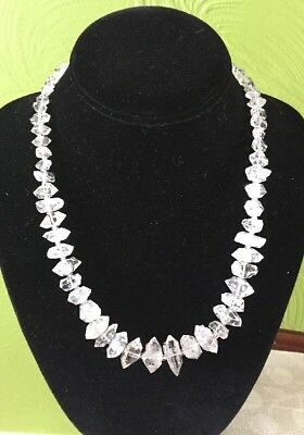 Large 100% Natural Herkimer Diamond Crystal points Rough Mineral Necklace #2