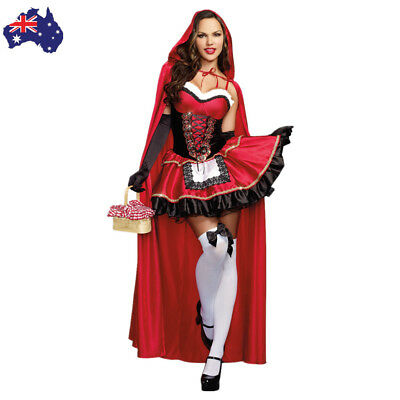 Womens Little Red Riding Hood Costume Halloween Fancy Dress Up Outfit With Cape