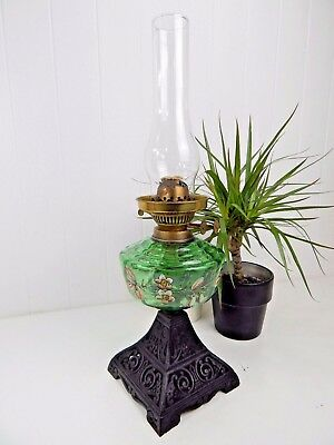 Original Vintage Antique Tall Green Glass Victorian Oil Lamp - Cast Iron Base