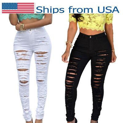 Women High Waist Stretch Skinny Ripped Jeans Pants Pencil Trousers Denim Fashion