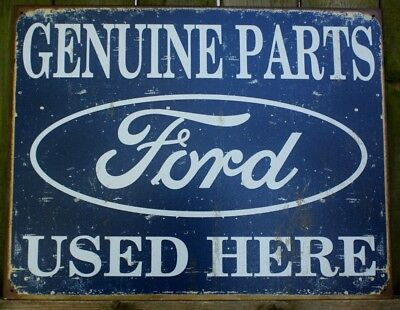 Ford Genuine Parts Used Here Tin Metal Sign Logo Ad Mechanic Garage Shop Car