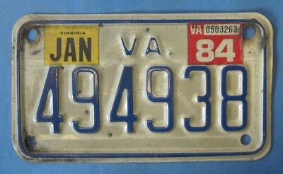 1984 Virginia Motorcycle License Plate